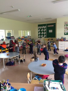 Junior Infant's enjoying their daily movement break.